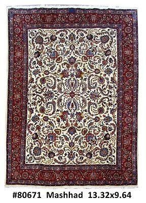 10x13 Mashad Familyroom Hand Knotted Persian Carpet Rug Mashad Artist Genuine Handmade 10 X 13 Area Rug Exact Dimensio Rugs On Carpet Persian Carpet Rugs