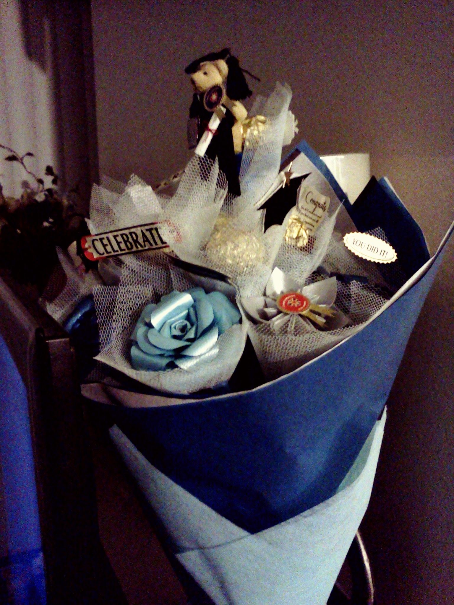 Diy paper flower graduation bouquet first birthday