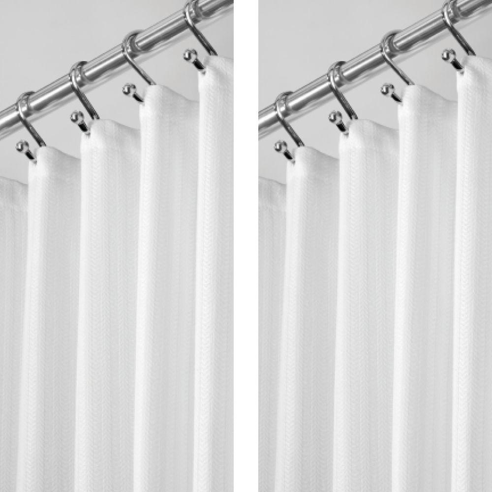 Long Herringbone Weave Shower Curtain 72 X 84 White In 2020