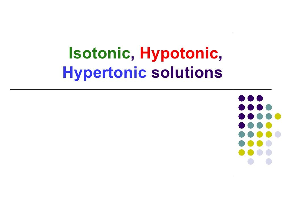 Effects Of Isotonic Hypotonic Hypertonic Solutions On Cells By J3di79 Via Slideshare
