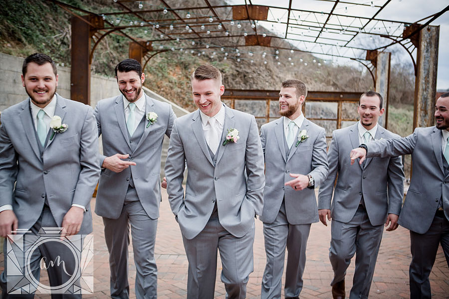 Groom and groomsmen pictures at The Standard in downtown Knoxville by Amanda May Photos