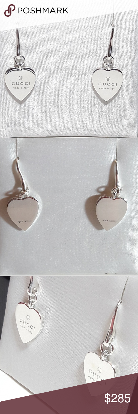 1acedb6062b Authentic Gucci heart drop earrings Authentic GUCCI drop earrings. 925  sterling silver Heart shaped with engraved logo Hook closure Made in Italy  Brand new ...