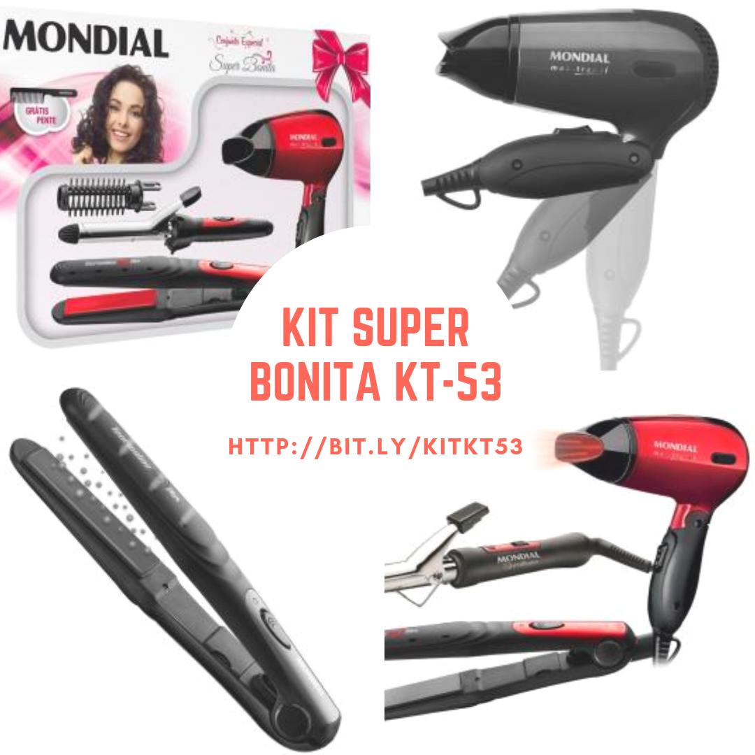 26fe0f275 Kit Especial Super Bonita KT-53 Mondial que vem com um Prancha Alisadora  Tourmaline Ion