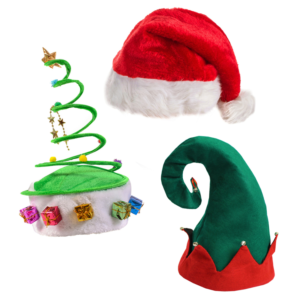 Funny Party Hats Plush Santa Hat Felt Elf Hat W Bells Green Coil Christmas Tree Hat 3 Pack Walmart Com Christmas Tree Hat Elf Hat Plush Santa
