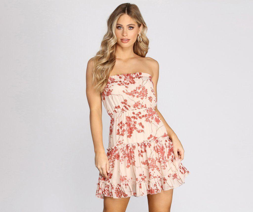 Flower Up Strapless Skater Dress Short Lace Dress Skater Dress Dresses [ 858 x 1024 Pixel ]
