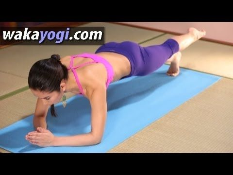 dolphin plank with one leg up  yoga body secret with waka