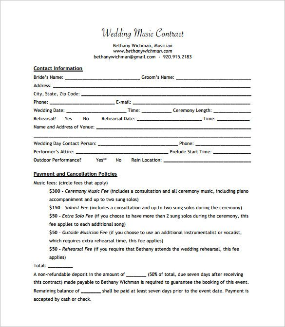 Wedding Band Contract Templates  Dj    Template Dj And