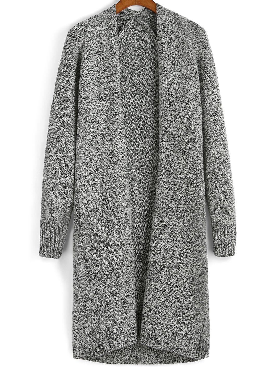 Grey Long Sleeve Knit Sweater Coat | Fall Wardrobe | Pinterest ...