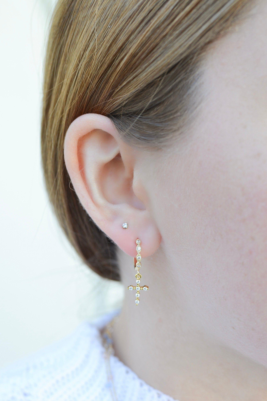 Photo of NEW | Swarovski Crystal Cross Huggie Hoops | Set of Two | Dainty Jewelry, Hoop Earrings, Gift for Her, Minimal, Modern, Polished 14K Gold