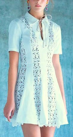 Floral Lace Panel Tie-Collar Dress-White