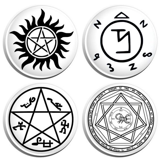 Supernatural Signs 125 Pin Back Buttons 4 Pack By Buttonpinbee
