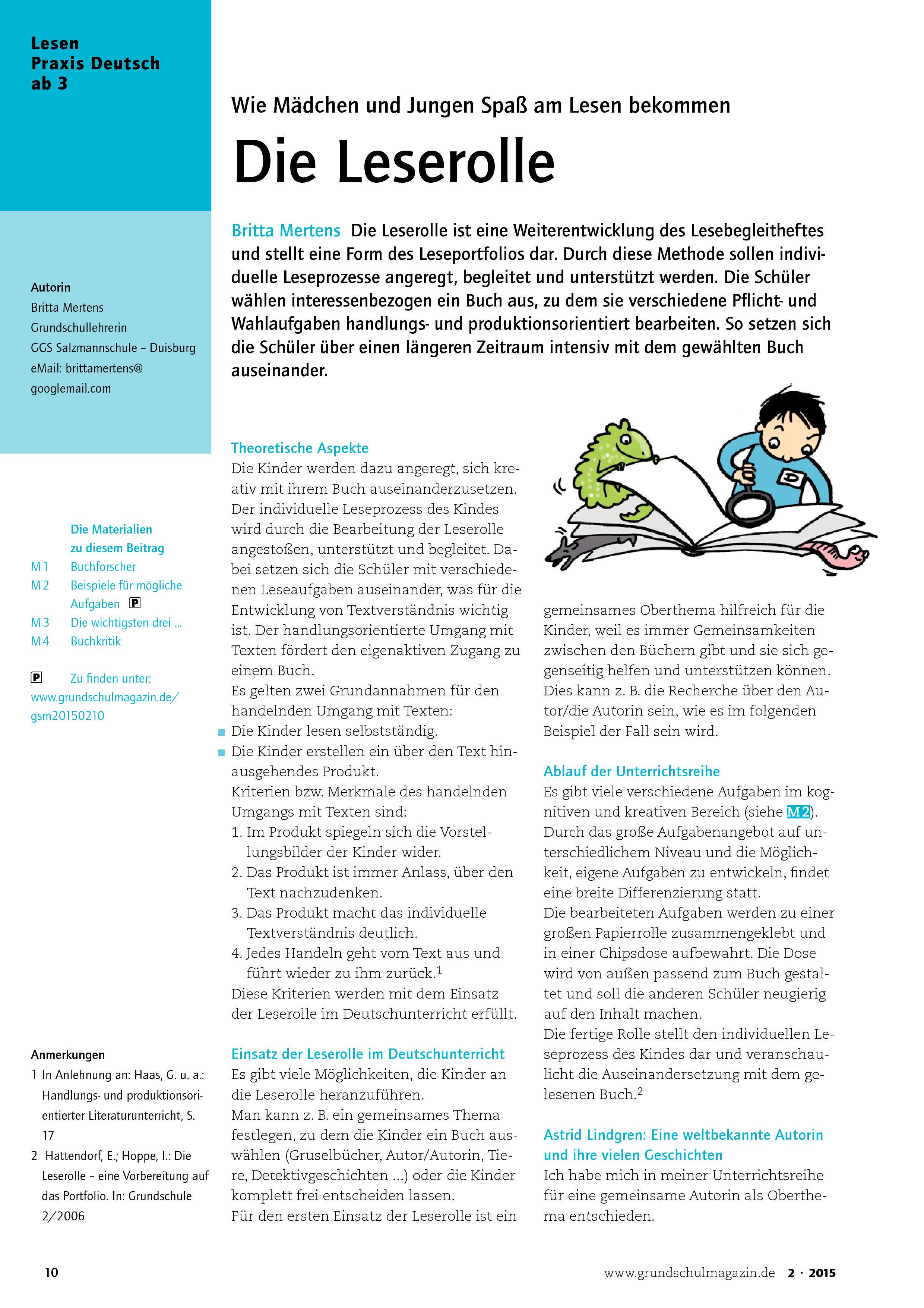 Die Leserolle | Zeitraum, Zeitschriften und Form