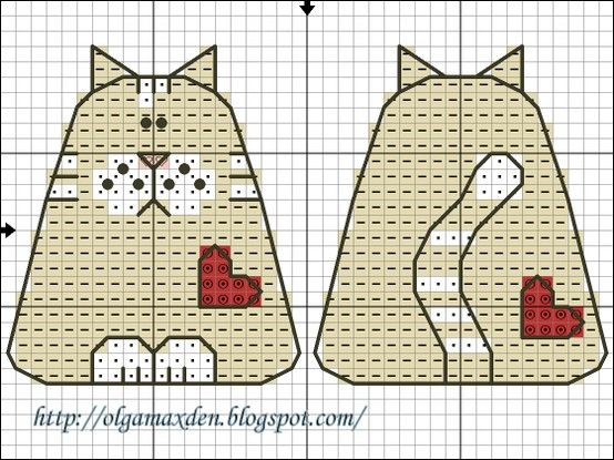 cat and bunny charts, front and back.