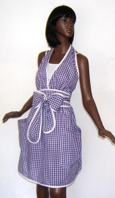 gingham halter wrap apron in blue and white