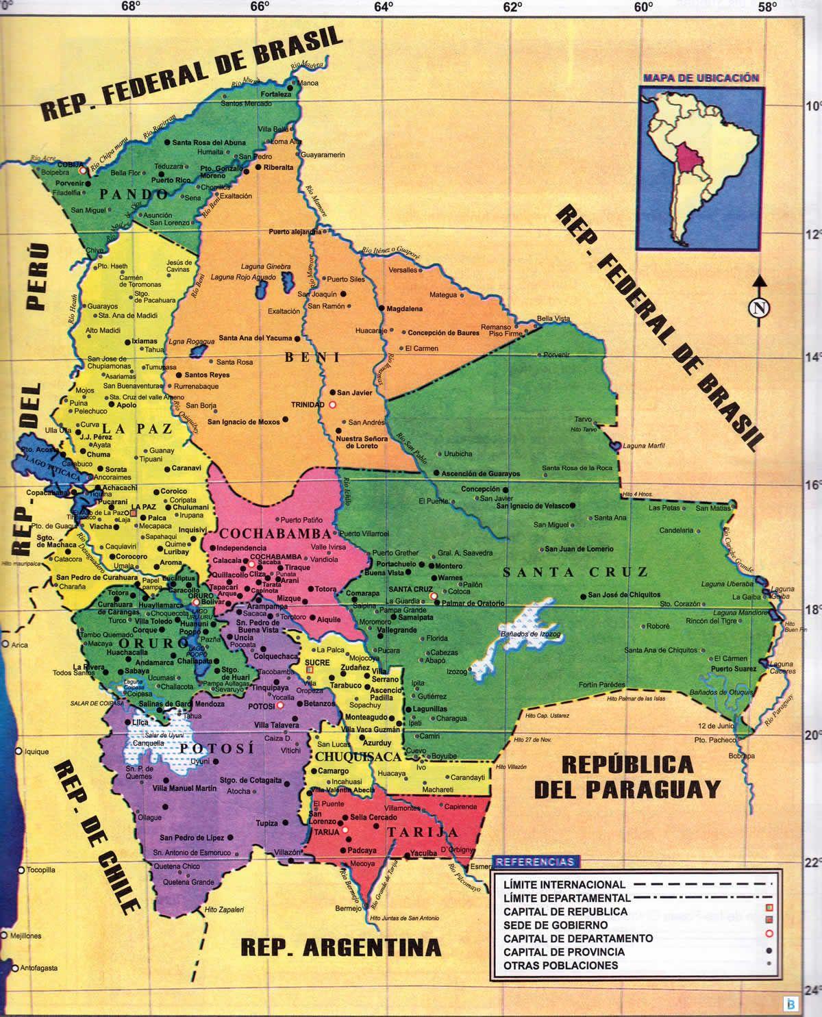Rio Mekong Mapa Fisico.Mapa Politico De Bolivia Mapas De Bolivia In 2019