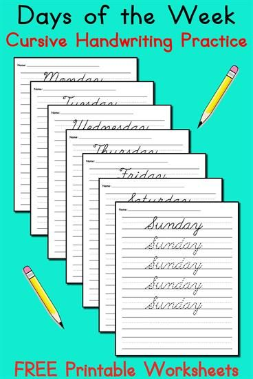 7 FREE Days of the Week Cursive Handwriting Worksheets! | Cursive ...