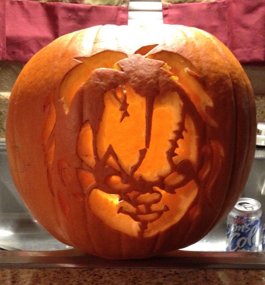 My first Chucky pumpkin