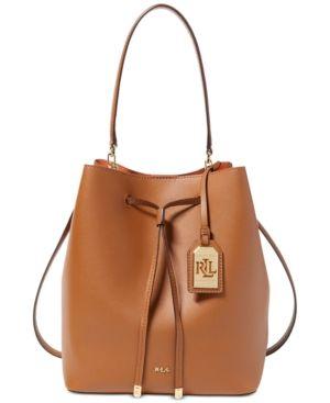 Lauren Ralph Lauren Dryden Debby Drawstring Bag - Brown Orange ... 20d8be32bafe7