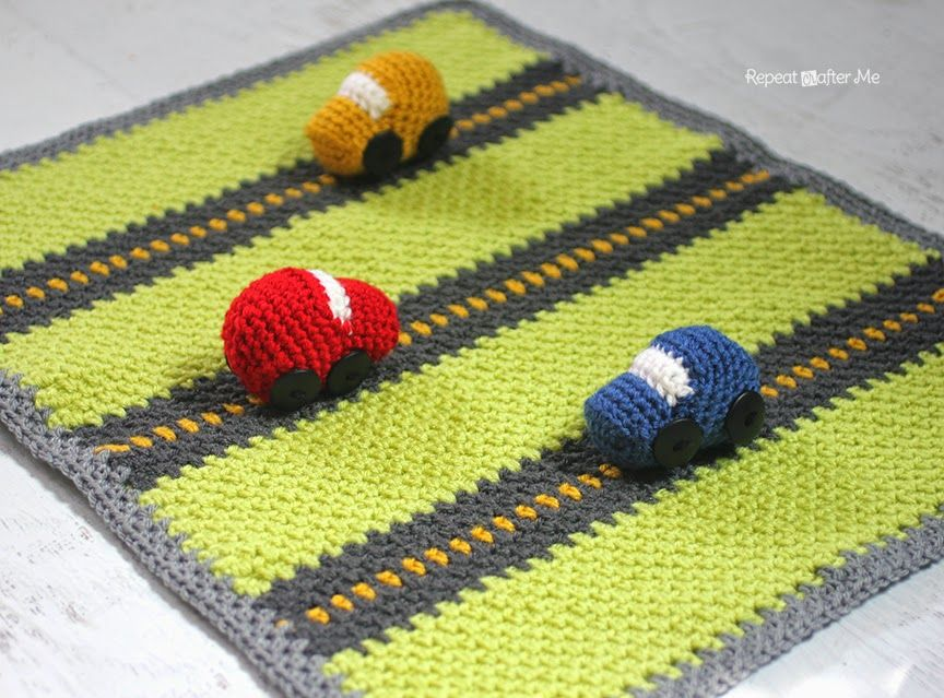 Crochet Race Car Playnket Play Mat And Blanket Repeat Crafter Me Crochet Blanket Patterns Crochet Car Crochet Patterns Free Blanket