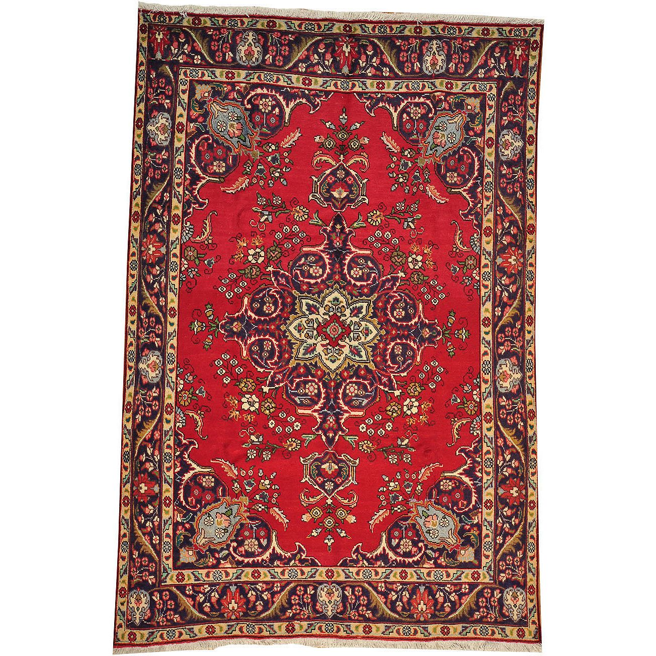 Hand-knotted Semi Antique Persian Tabriz Wool Area Rug (6'9 x 10'4) - Overstock Shopping - Great Deals on One Of A Kind Rugs