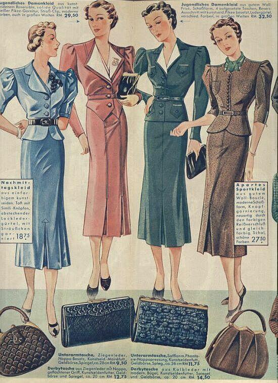 Mode Damen 1938 Mode Modegeschichte Modestil
