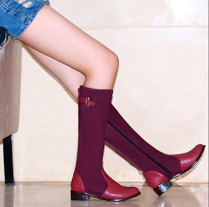 Womens Mixed Color Shoes Side Zip Knee High Boots Korean Low Heels Knight G211
