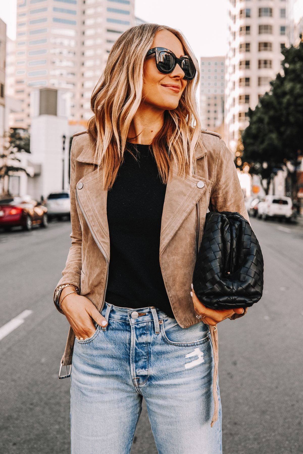 Suede Moto Jacket Ripped Jeans Outfit Jeans And Heels Date Night Look Fashion Jackson Fashion Suede Moto Jacket [ 1800 x 1200 Pixel ]
