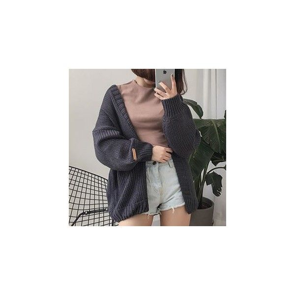 Chunky Knit Open Front Cardigan (17.625 CRC) ❤ liked on Polyvore ...