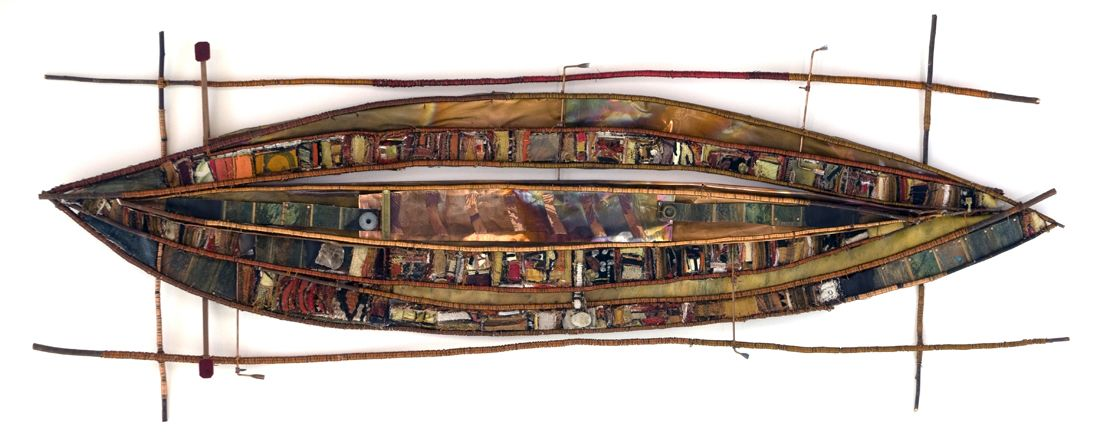 """""""Narrative Path"""": Description: 25"""" X 60""""; found, new and embellished fabrics, willow branch, copper, copper wire, painted canvas, found objects. Commission, MacCoubrey Funeral Home, completed October 1, 2012.  www.alicevandervennen.ca"""
