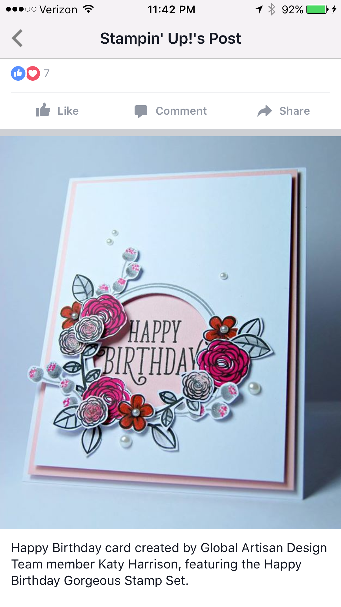 Happy birthday gorgeous stampin up sualles liebe