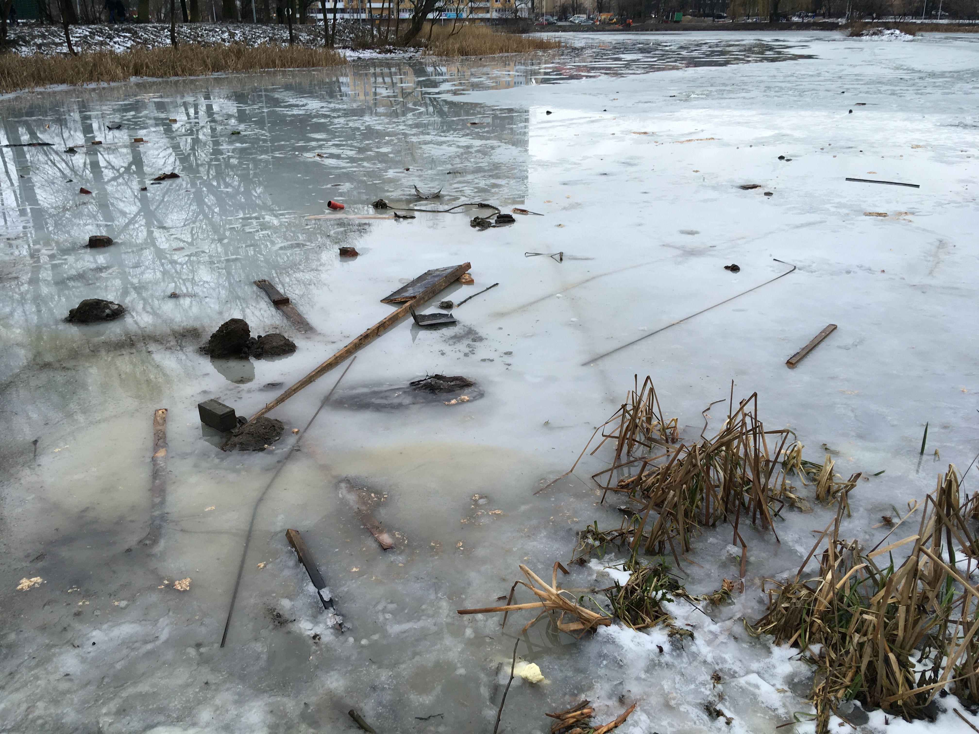 Арматура на льду озера