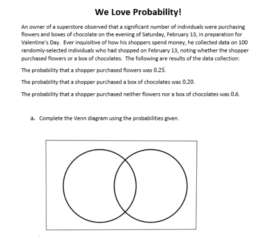 This Problem Provides Students With The Opportunity To Use Venn