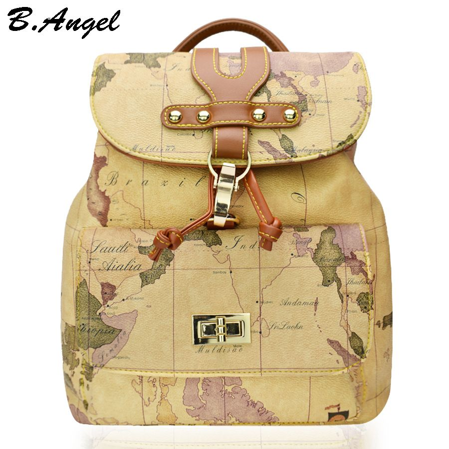 9e8b45c11c   gt Sale onHigh quality women and men world map backpack fashion backpack  women retro