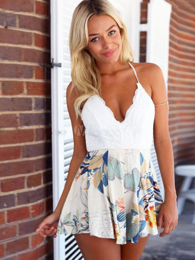 491dafc024 White Mini Dress Halter Backless Floral Print Cotton Dress-No.2