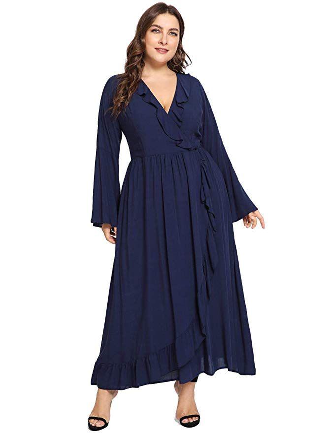 Milumia Plus Size Long Sleeves Maxi Dress Ruffle Wrap V Neck Party Solid  Plain Dresses Navy 4XL f80fbf0da