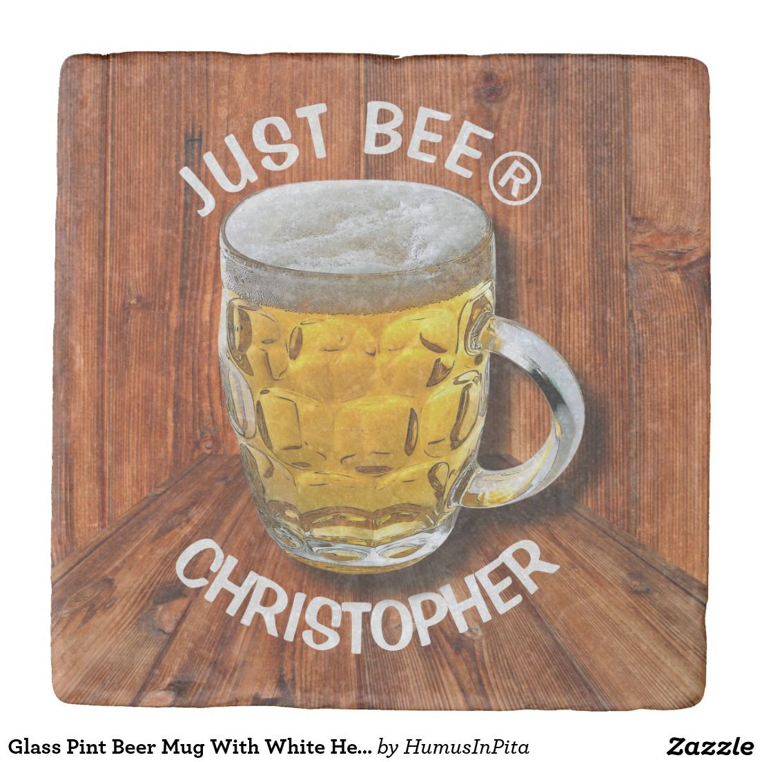 Glass Pint Beer Mug With White Head With Your Text Stone Coaster