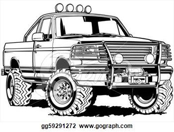 4x4 Four Wheeling Clipart Clip Art Black Line Illustration Stock Illustration Gg59291272 Csp Classic Trucks Vintage Classic Trucks Classic Trucks Magazine