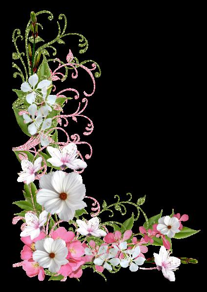 Pink And Green Spring Decor Png Picture Clipart Imagem Floral Molduras Decoradas Imagens Clipart
