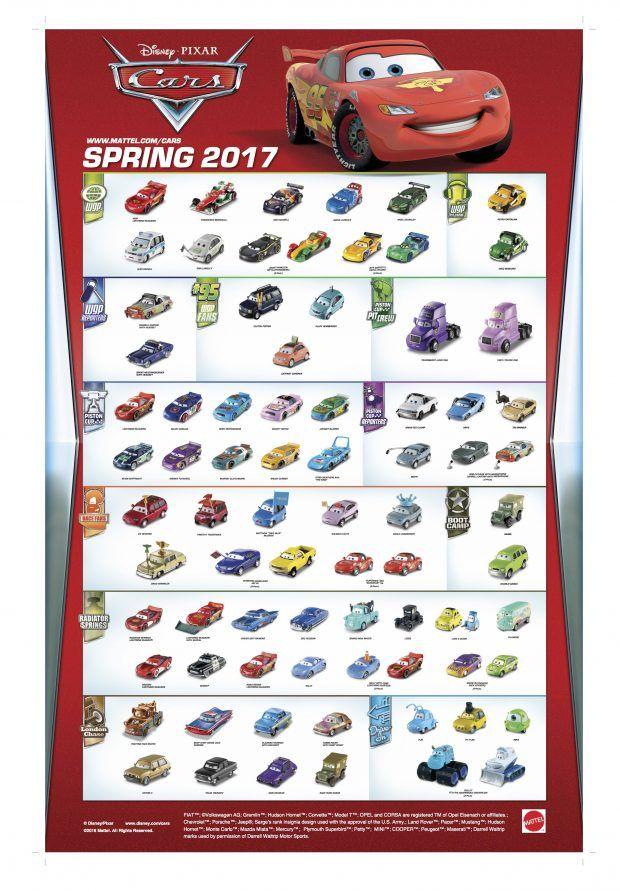Mattel Disney Pixar Cars The 2017 Cars 1 2 Poster 2016 In 2020 Disney Cars Diecast Disney Cars Characters Disney Pixar Cars