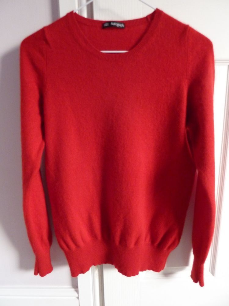 37518b1475d156 (eBay link) MARKS & SPENCER AUTOGRAPH ROUND NECK RED 100% CASHMERE JUMPER  SIZE 12. #fashion #clothing #shoes #accessories #womensclothing #sweaters