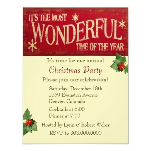 Most wonderful time christmas party invitation wonderful time and most wonderful time christmas party card m4hsunfo