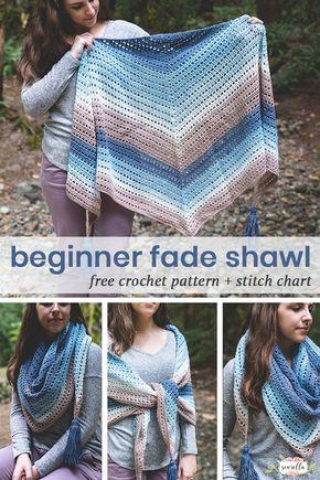 Crochet Beginner Fade Shawl - Free Crochet Pattern • Sewrella