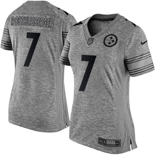 7aa266847 Women s Nike Pittsburgh Steelers  7 Ben Roethlisberger Limited Gray  Gridiron NFL Jersey