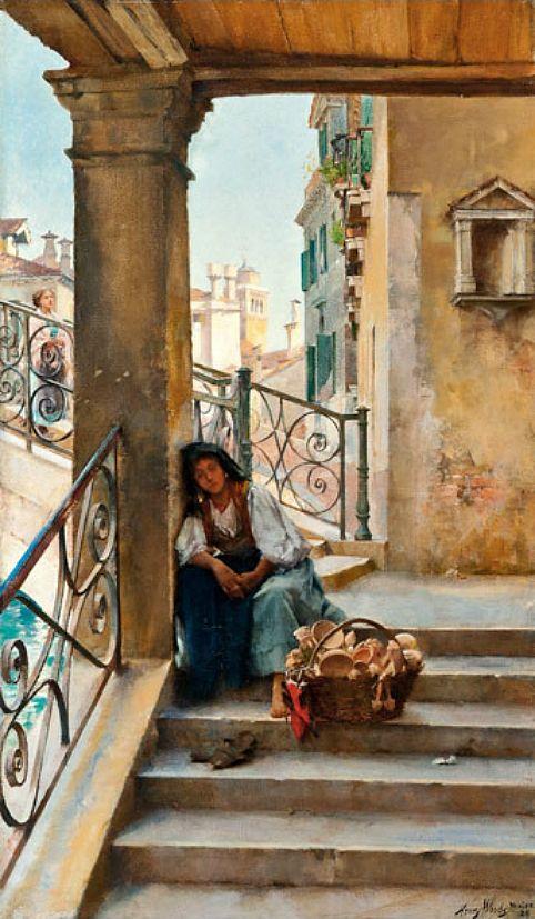 "Henry Woods, ""A Rest on the Steps, Venice"""