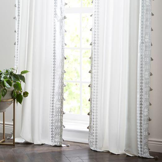 Echo Print Curtains (Set Of 2) - Platinum