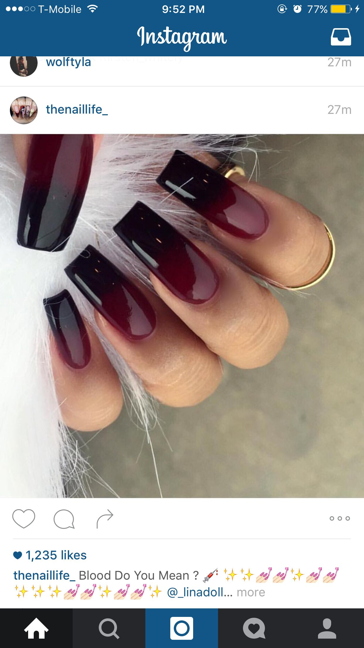 Red And Black Ombre Red Ombre Nails Red Acrylic Nails Orange Acrylic Nails