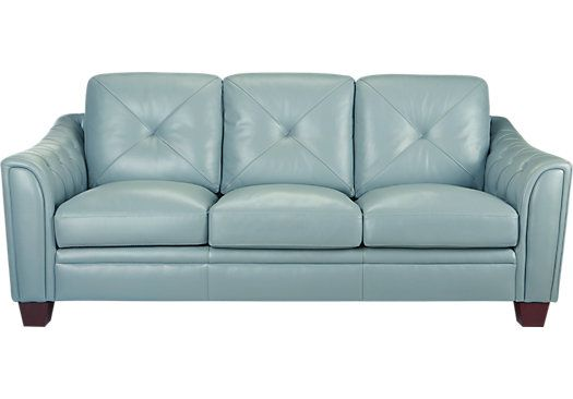 Cindy Crawford Home Marcella Spa Blue Leather Sofa Leather Sofas Blue Blue Leather Sofa Best Leather Sofa Blue Leather Couch