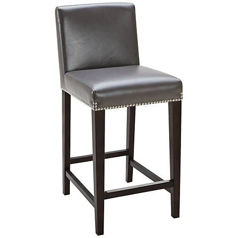 Brooke 25 1 2 Gray Bonded Leather Counter Stool 7w908 Lamps Plus Leather Counter Stools Bar Stools Leather Bar Stools Gray leather bar stools