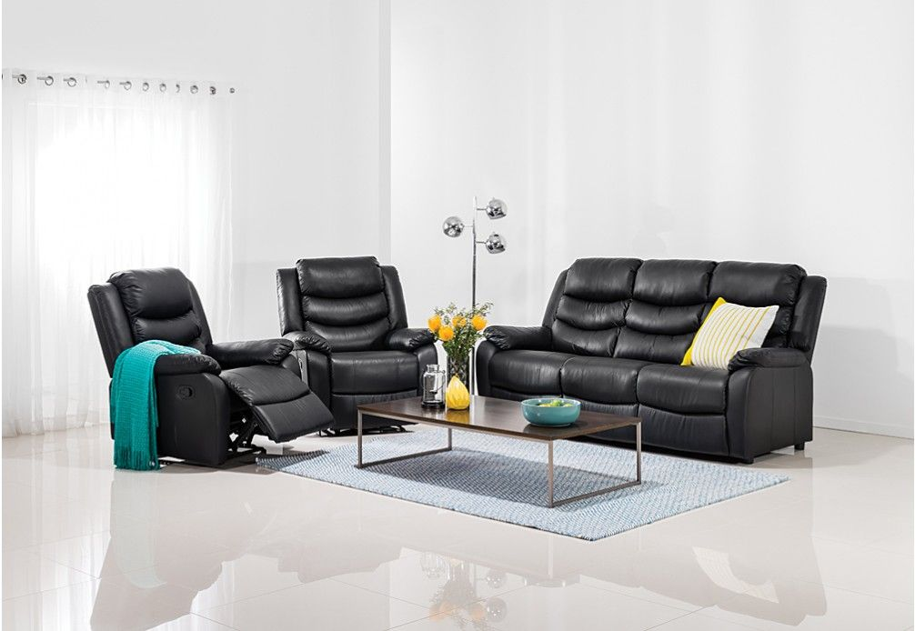 Kensington Leather Look 3 Pce Recliner Suite Super Amart Furniture Eames Lounge Chair Home Decor