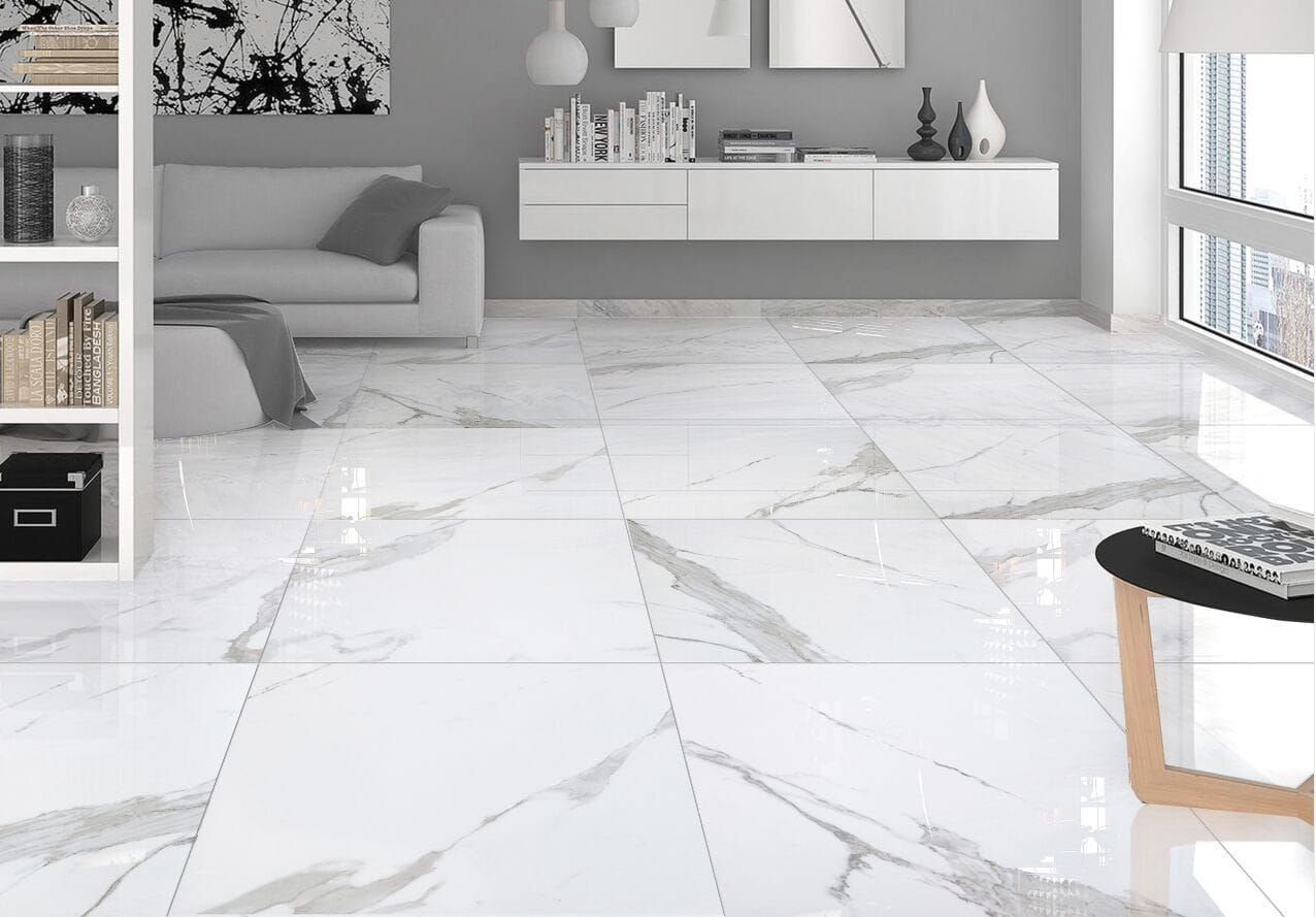 Builddirect Salerno Porcelain Tile Calacatta Marble Series In 2020 Living Room Tiles White Marble Tiles Calacatta Marble